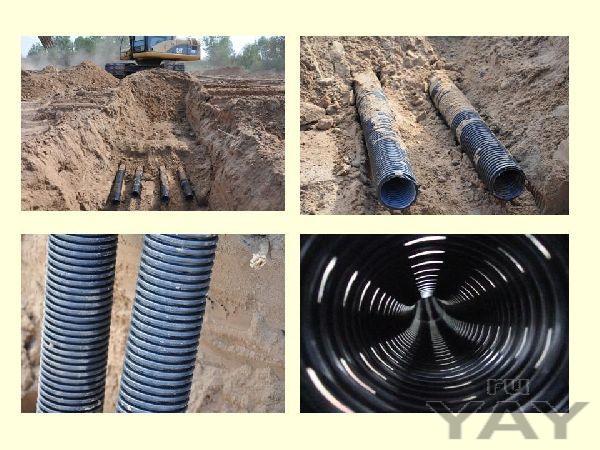 Полиэтиленовые трубы на газ, воду, канализацию (гофрированные 2-стенные)